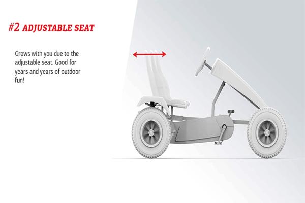 מושב מתכוונן על מכונית פדלים