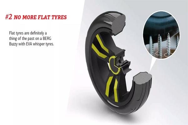 פירוט מבנה גלגל שלא מאבד אוויר על מכונית פדלים