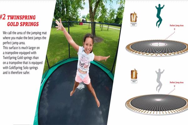 ילדה קופצת על טרמפולינה עם הסבר על אזורי הקפיצה המומלצים על הטרמפולינה